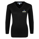 Ladies Black V Neck Sweater-Primary Mark