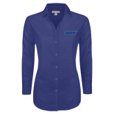 Ladies Red House Diamond Dobby Royal Long Sleeve Shirt-WSU
