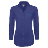 Ladies Red House Diamond Dobby Royal Long Sleeve Shirt-WSU