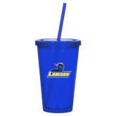 Madison Double Wall Blue Tumbler w/Straw 16oz-Primary Mark