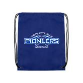 Royal Drawstring Backpack-Pioneers Wrestling