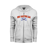 ENZA Ladies White Fleece Full Zip Hoodie-Arched UW-Platteville