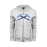 ENZA Ladies White Fleece Full Zip Hoodie-Crossed Axes