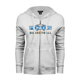 ENZA Ladies White Fleece Full Zip Hoodie-Pioneers Basketball