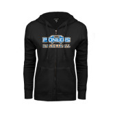 ENZA Ladies Black Fleece Full Zip Hoodie-Pioneers Basketball