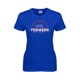 Ladies Royal T Shirt-Soccer Ball Design