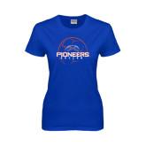 Ladies Royal T Shirt-Soccer Ball Design