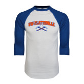 White/Royal Raglan Baseball T Shirt-Arched UW-Platteville
