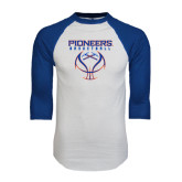 White/Royal Raglan Baseball T Shirt-Stacked Basketball Design