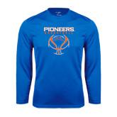 Performance Royal Longsleeve Shirt-Stacked Basketball Design