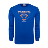 Royal Long Sleeve T Shirt-Stacked Basketball Design
