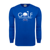 Royal Long Sleeve T Shirt-Stacked Golf Design