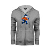 ENZA Ladies Grey Fleece Full Zip Hoodie-Mascot