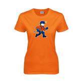 Ladies Orange T Shirt-Mascot