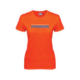 Ladies Orange T Shirt-Wordmark