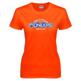 Ladies Orange T Shirt-Pioneers Wrestling