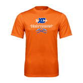 Performance Orange Tee-Stacked Cross Country Design
