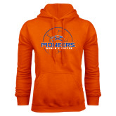Orange Fleece Hoodie-Womens Soccer Ball Design