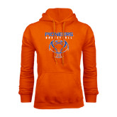 Orange Fleece Hoodie-Stacked Basketball Design