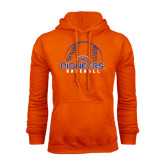 Orange Fleece Hoodie-Baseball Design