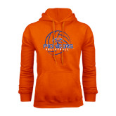 Orange Fleece Hoodie-Volleyball Design