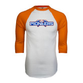 White/Orange Raglan Baseball T Shirt-Official Logo