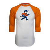White/Orange Raglan Baseball T Shirt-Mascot