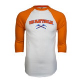 White/Orange Raglan Baseball T Shirt-Arched UW-Platteville