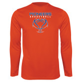 Syntrel Performance Orange Longsleeve Shirt-Stacked Basketball Design