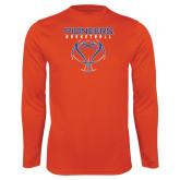Performance Orange Longsleeve Shirt-Stacked Basketball Design