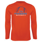 Syntrel Performance Orange Longsleeve Shirt-Baseball Design