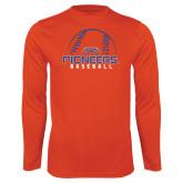 Performance Orange Longsleeve Shirt-Baseball Design