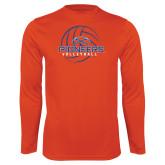 Performance Orange Longsleeve Shirt-Volleyball Design