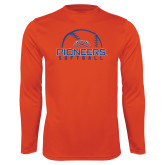Syntrel Performance Orange Longsleeve Shirt-Softball Design