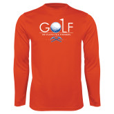 Syntrel Performance Orange Longsleeve Shirt-Stacked Golf Design