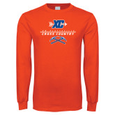 Orange Long Sleeve T Shirt-Stacked Cross Country Design