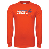 Orange Long Sleeve T Shirt-Track and Field Runner Design