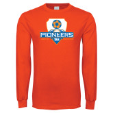 Orange Long Sleeve T Shirt-Mens Soccer Shield