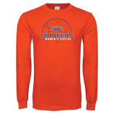 Orange Long Sleeve T Shirt-Womens Soccer Ball Design