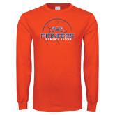 Orange Long Sleeve T Shirt-Womens Soccer Ball Design