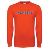 Orange Long Sleeve T Shirt-Wordmark