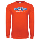 Orange Long Sleeve T Shirt-Softball