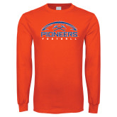 Orange Long Sleeve T Shirt-Football Design
