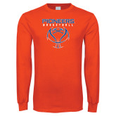 Orange Long Sleeve T Shirt-Stacked Basketball Design
