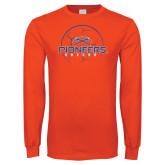 Orange Long Sleeve T Shirt-Soccer Ball Design