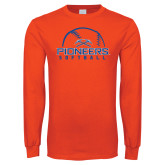 Orange Long Sleeve T Shirt-Softball Design