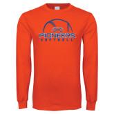 Orange Long Sleeve T Shirt-Softball Design