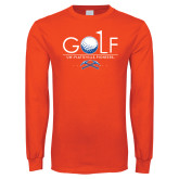 Orange Long Sleeve T Shirt-Stacked Golf Design
