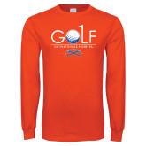 Orange Long Sleeve T Shirt-Stacked Golf Design