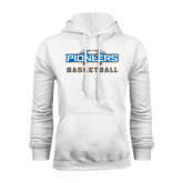 White Fleece Hoodie-Pioneers Basketball